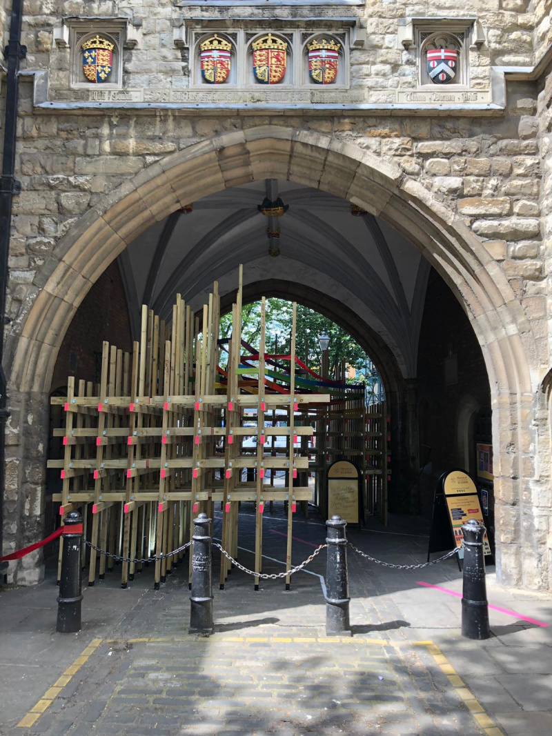 Timber construction at St John's Arch